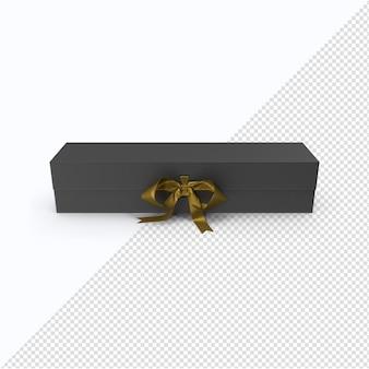 Boîte noire avec ruban d'or en rendu 3d isolé