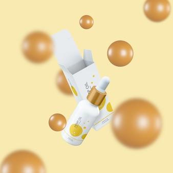 Boîte de papier de compte-gouttes d'huile cosmétique et maquette d'emballage de bouteille