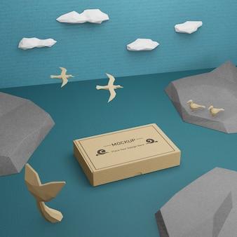 Boîte en papier durable et vie marine avec maquette