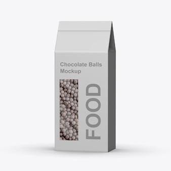 Boîte en papier avec maquette de boules de chocolat