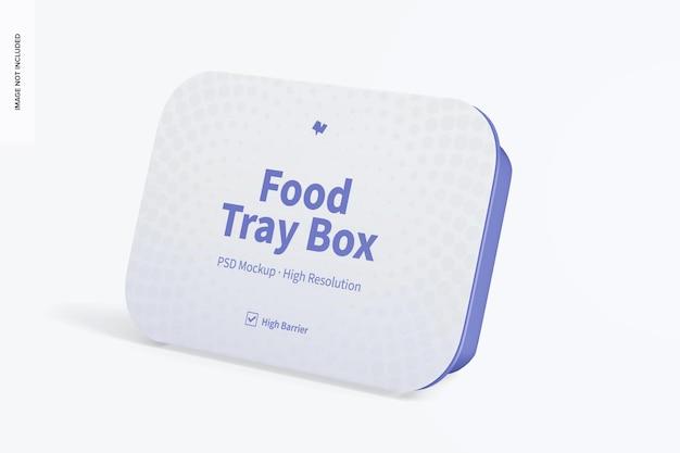 Boîte à plateau alimentaire avec maquette d'étiquette, adossée