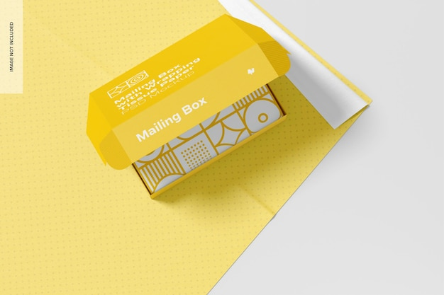 Boîte postale avec maquette de papier de soie d'emballage, vue de dessus