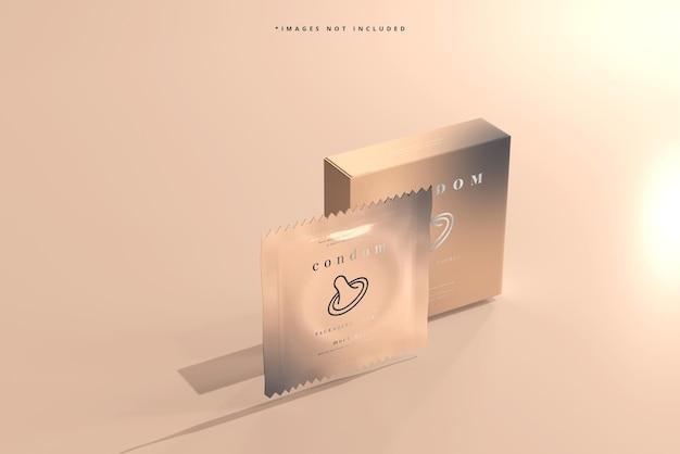 Boîte de préservatif et maquette d'emballage en aluminium