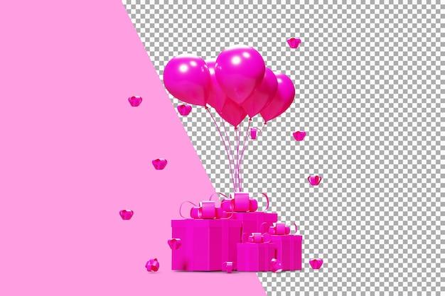 Boîte rose cadeaux avec des ballons roses rendu 3d isolé