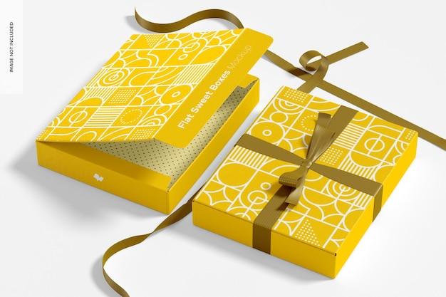 Boîtes à bonbons plates avec maquette de ruban, perspective
