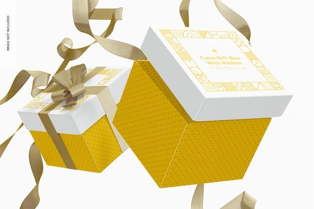 Boîtes-cadeaux de cube avec maquette de ruban, flottantes