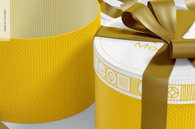 Boîtes-cadeaux rondes avec maquette de ruban, gros plan