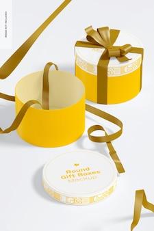 Boîtes-cadeaux rondes avec maquette de ruban, perspective