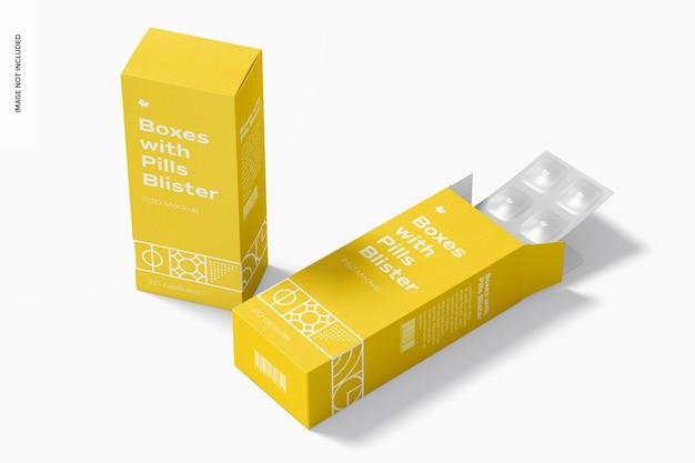 Boîtes avec maquette de boursouflure de pilules