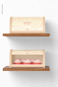 Boîtes de nourriture avec maquette de couvercle à rouleau, vue de face