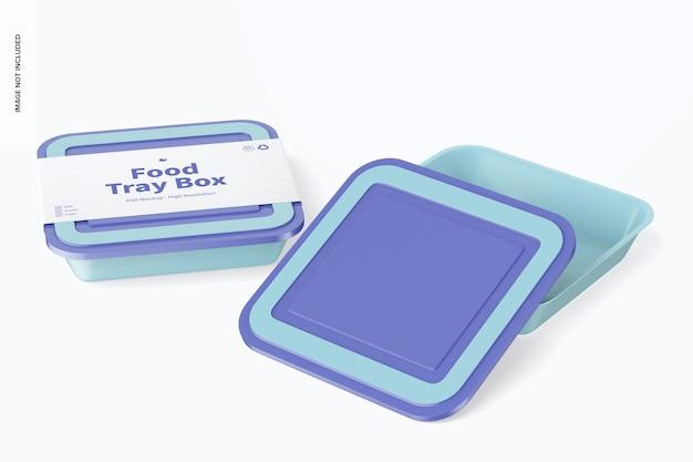 Boîtes à plateaux alimentaires avec maquette de couvercle, ouvertes et fermées