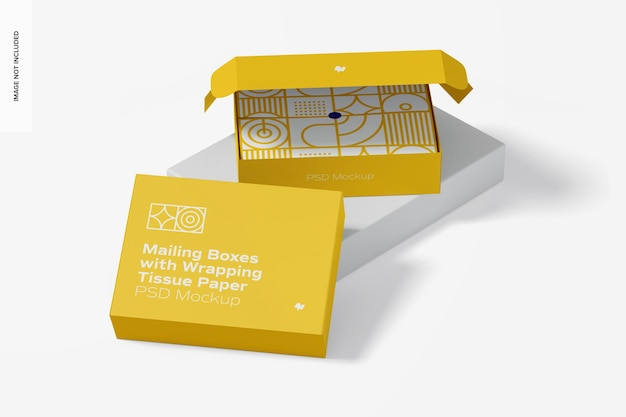 Boîtes postales avec maquette de papier de soie d'emballage