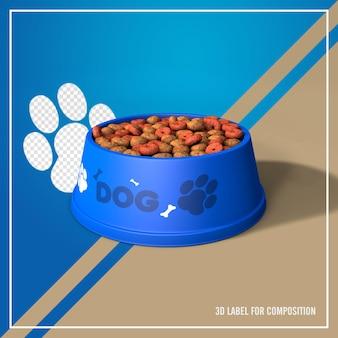 Bol bleu avec de la nourriture pour chien