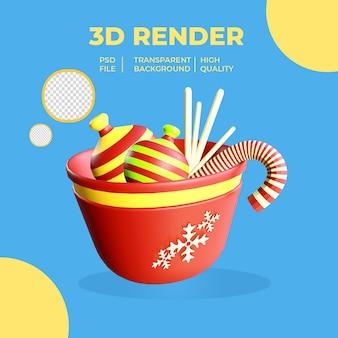 Bol rouge de rendu 3d avec des bonbons et des biscuits sur fond transparent