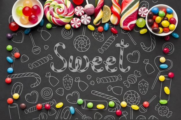 Bonbons colorés sur table