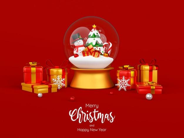 Bonhomme de neige en boule à neige avec cadeau de noël, illustration 3d