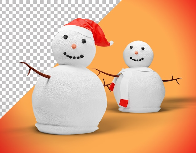 Bonhomme de neige de noël 3d avec chapeau et scraf