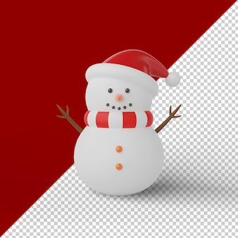 Bonhomme de neige de noël rendu 3d isolé
