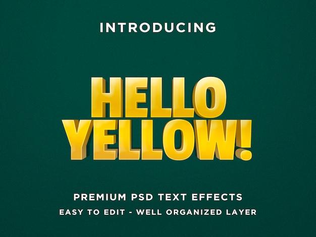 Bonjour effet de texte jaune