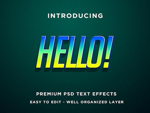 Bonjour, effets de texte 3d premium psd