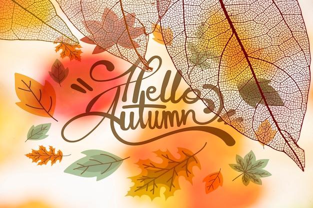 Bonjour lettrage d'automne avec des feuilles translucides