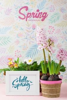 Bonjour maquette de printemps avec des fleurs