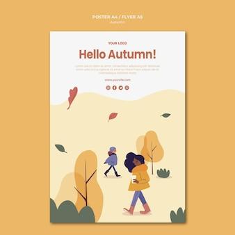 Bonjour modèle d'affiche d'automne