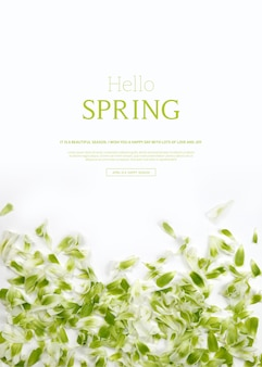 Bonjour printemps, beau modèle de carte verticale avec des fleurs