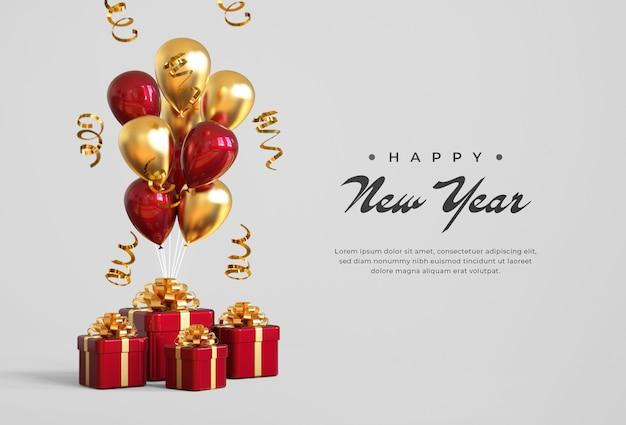 Bonne année 2021 avec coffrets cadeaux, ballons et confettis
