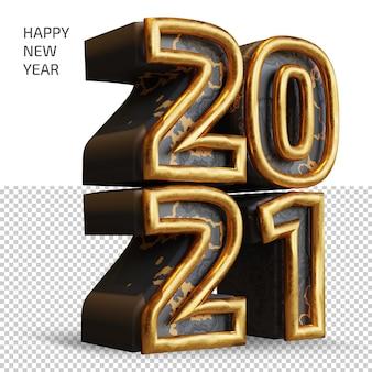 Bonne année 2021 nombre d'or gras rendu 3d isolé