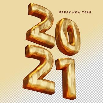 Bonne année 2021 numéro gras d'or de haute qualité rendu 3d maquette isolée