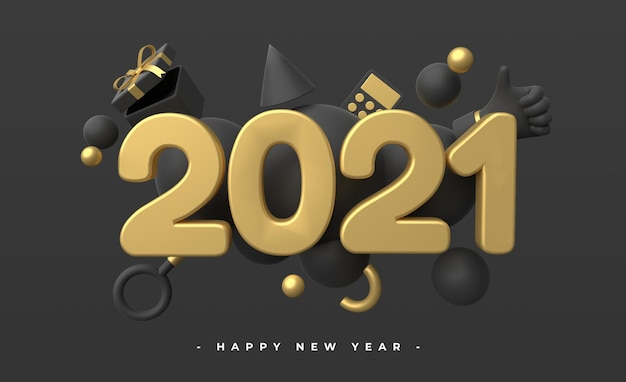 Bonne année 2021 avec rendu d'objets 3d