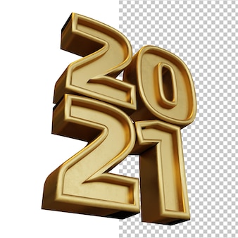 Bonne Année 2021 Vingt-et-un Chiffre Gras Rendu 3d éclat Doré Isolé PSD Premium
