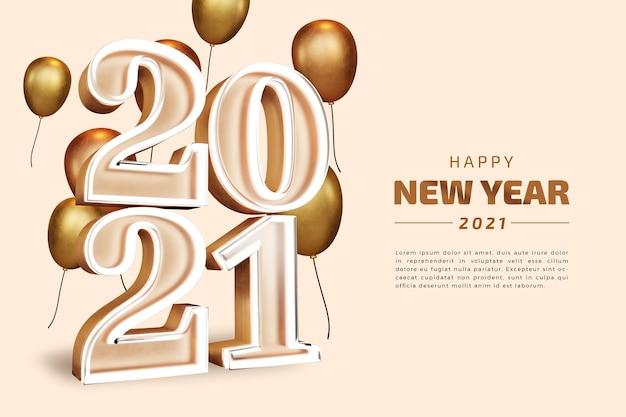 Bonne année 2021 vingt-et-un chiffre gras rendu 3d isolé