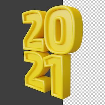 Bonne année 2021 vingt-et-un chiffre gras rendu 3d jaune isolé