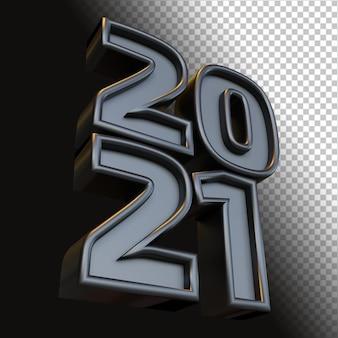 Bonne année 2021 vingt-et-un numéro gras 3d render noir brillant isolé