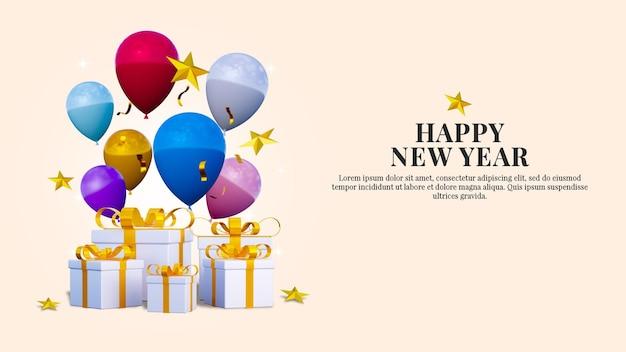 Bonne année et modèle de publication sur les réseaux sociaux de bannière de noël