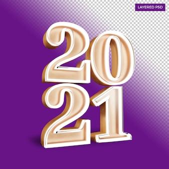 Bonne année vingt vingt et un nombre gras rendent éclat d'or isolé