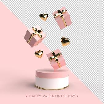 Bonne composition de la saint-valentin en rendu 3d