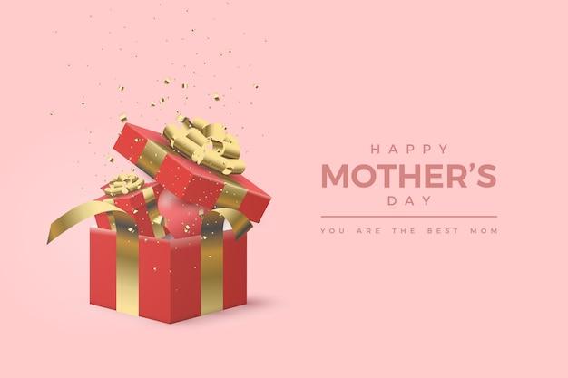 Bonne fête des mères avec une illustration de boîte-cadeau rouge réaliste