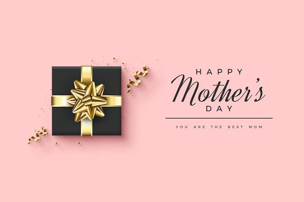 Bonne fête des mères avec illustration élégante de boîte-cadeau noir