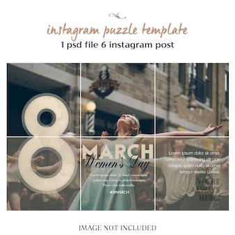 Bonne journée de la femme et modèle de puzzle de souhaits avec salutation du 8 mars sur instagram, grille ou collage