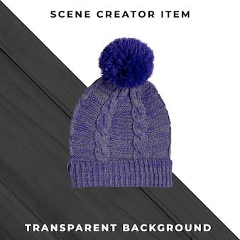 Bonnet tricoté isolé avec un tracé de détourage.