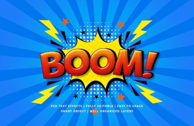 Boom comic speech effet de style de texte 3d