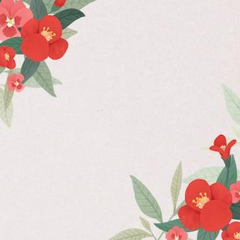 Bordure florale sur une maquette de fond rose clair