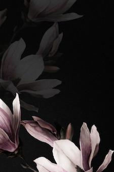 Bordure de magnolia psd fond de fleurs dramatiques