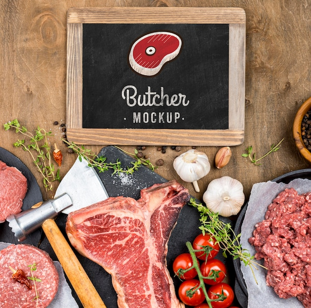 Boucherie vue de dessus avec de la viande fraîche