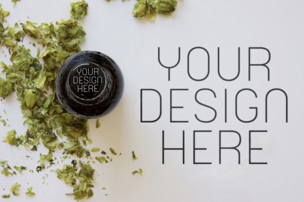 Bouchon de bière au houblon sec, maquette de logo