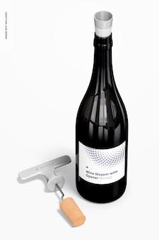 Bouchon de vin avec ouvre-bouteille et maquette de bouteille