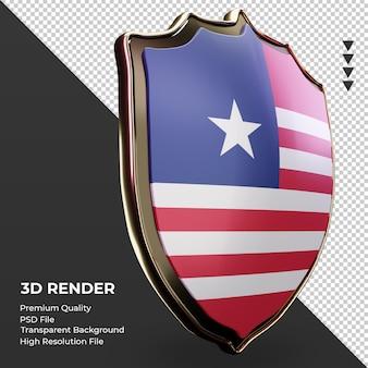 Bouclier 3d drapeau du libéria rendu vue de gauche